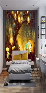 Misty Forest Tree Houses Psychedelic Jungle Tapestry