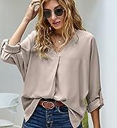 BLENCOT Womens Casual Long Sleeve V Neck Blouse amp; Tops Loose Tunic Summer Printed Shirts Blouses