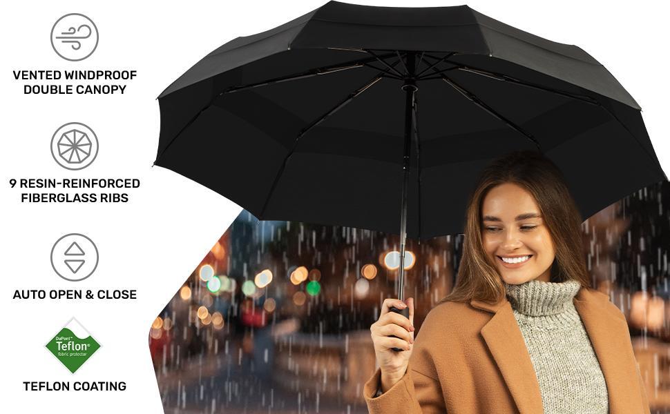 Woman holding Repel Travel Umbrella