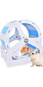 Hamster Exercise Wheels Super Silent Runner Wide Track Tiffany Blue and White