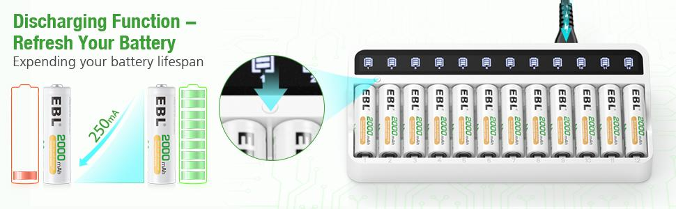 aa aaa battery charger with discharge function
