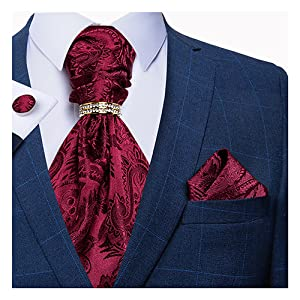 Burgundy paisley ascot tie set with tie ring for men
