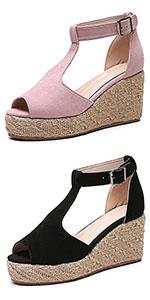 Women Peep Toe Espadrille Platfrom Wedge Sandals
