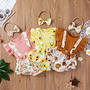 baby girl suspenders shorts clothes set