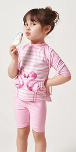 Julysand Toddler Girls Flamingo Rash Guard Swimsuit Short Sleeve Swimwear Pink Two Piece Beachwear