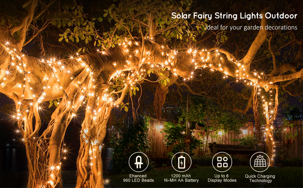 solar fairy lights outdoor garden
