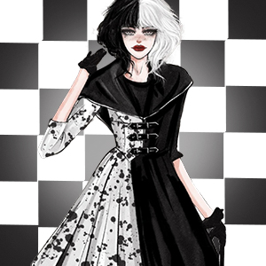 white and black wig