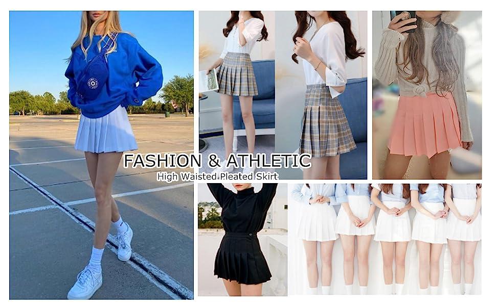Women Girls high Waisted Pleated Skater Tennis School Skirt Uniform Skirts