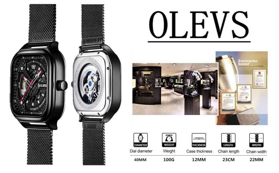 Black Square Automatic Watches for Men Waterproof