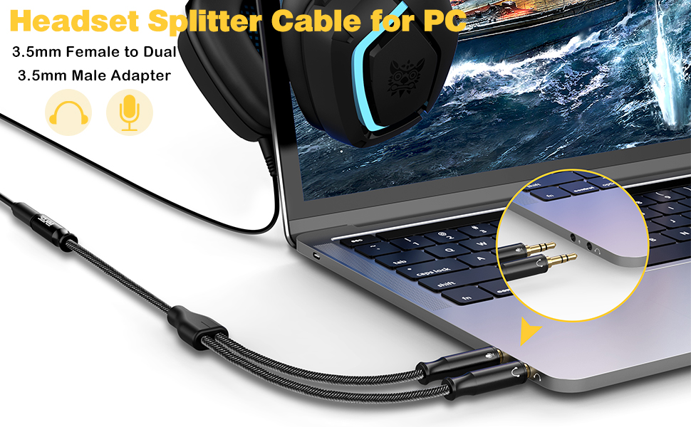 Headset splitter cable for pc