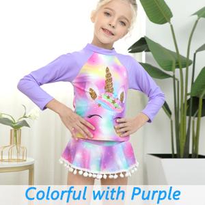 little kids girls unicorn rash guards rashguards swimsuits swimwears
