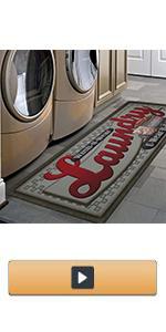 Non Slip Laundry Room Rug Runner Printed Waterproof Rubber Kitchen Floor Mat