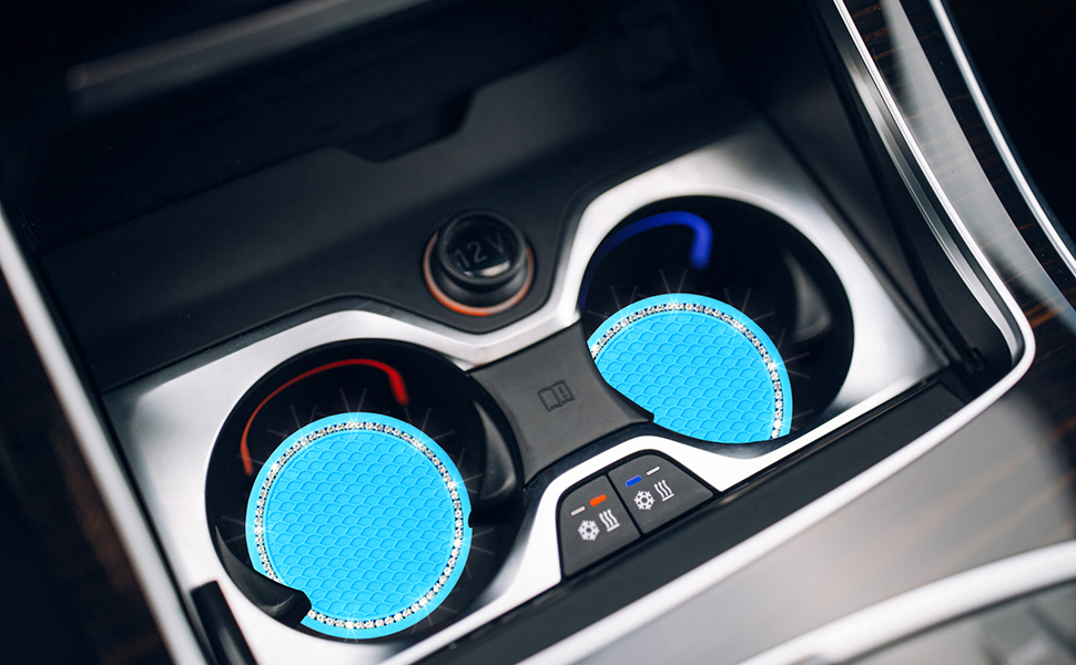2 Pack Blue Bling Car Coasters