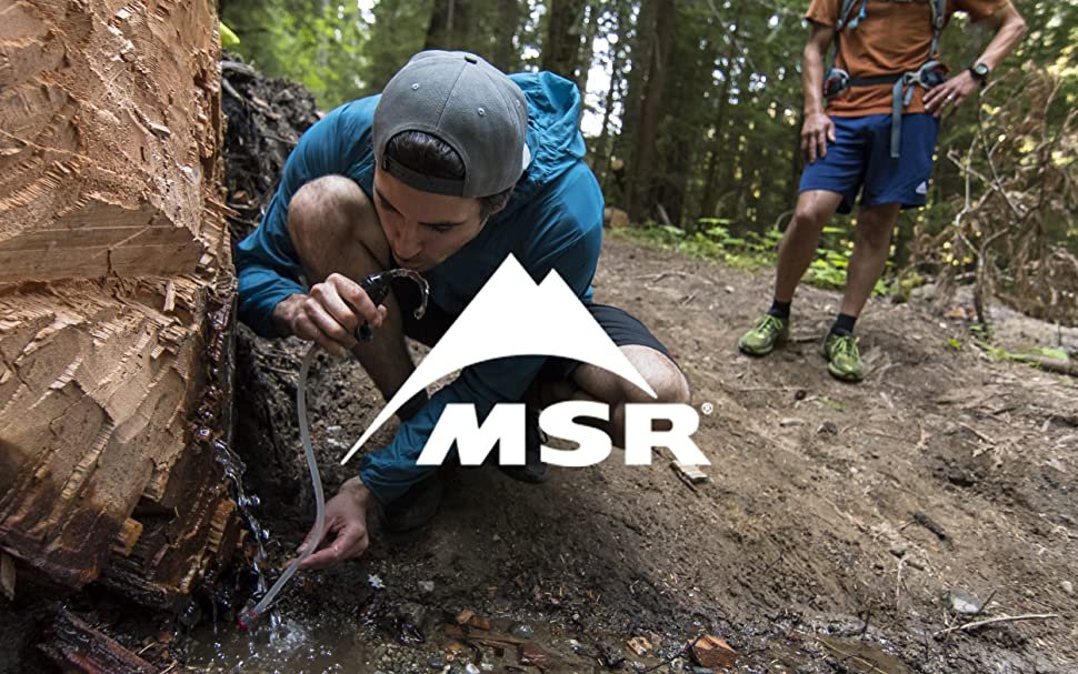 MSR logo over man drinking water from tree stump with MSR Trail Shot water filter