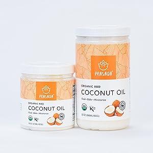 RBD coconut Oil two sizes on white