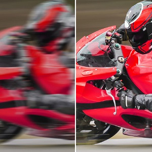 Motorcycle racer, left is blurry, right is clear