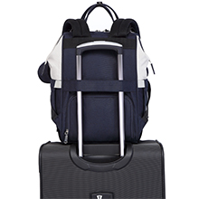 BabbleRoo diaper bag backpack with suitcase band