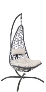 Sunnydaze Phoebe Hanging Chair with Stand - Red