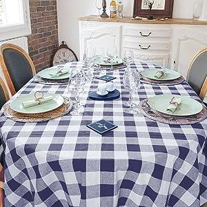 Farmhouse Tablecloth Oblong - Cotton Tablecloth - Red Cotton Tablecloth for Rectangle Tables
