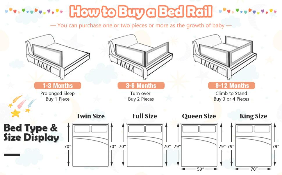 Baby Bedrail for Queen King Size Mattress, Box Spring & Slats