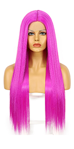 Hot Pink straight synthetic lace front wigs