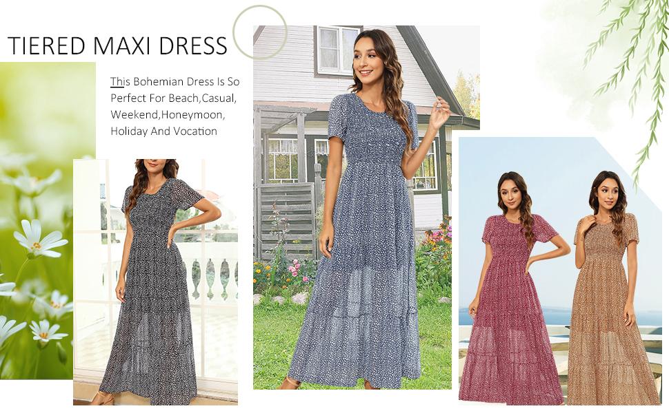 womens smocked dress for women maxi
