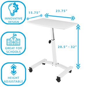 mobile rolling desk home office space quality modern design seville classics small space dimensions