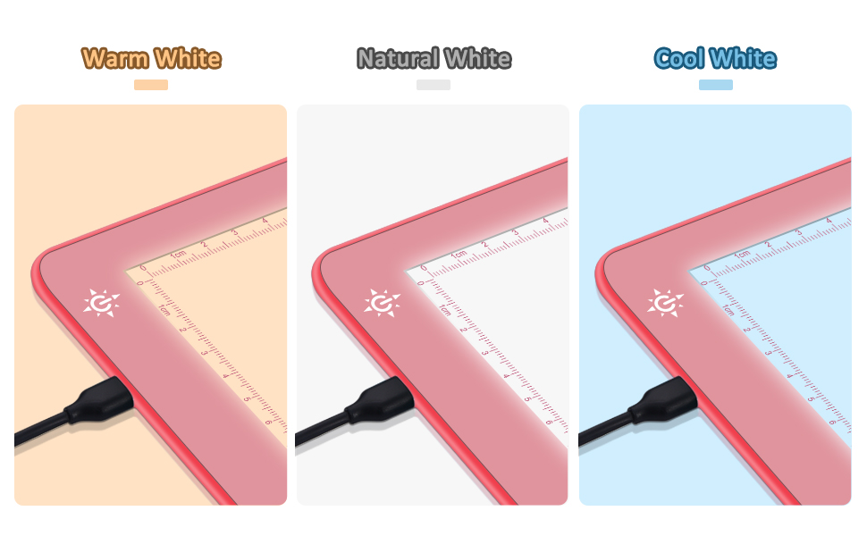 the light pad have 3 color temperatures