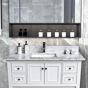 Bathroom Stone Vanity Top Rectangle Undermount Ceramic Sink Faucet Hole with Back Splash