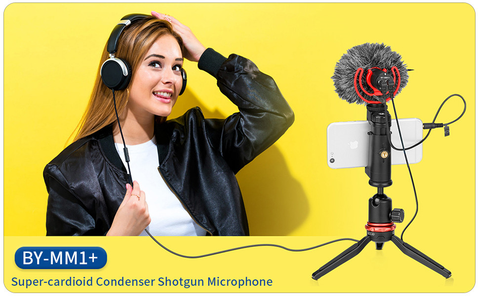 BOYA Super-Cardioid Shotgun Microphone, BY-MM1+ Mini Stereo Mic for IOS Android Smartphone Vlog
