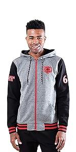 Ultra Game NBA Men's Full Zip Fleece Hoodie Letterman Varsity Jacket
