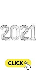 2021 Silver graduation decorations balloons