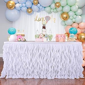 white wedding table skirt
