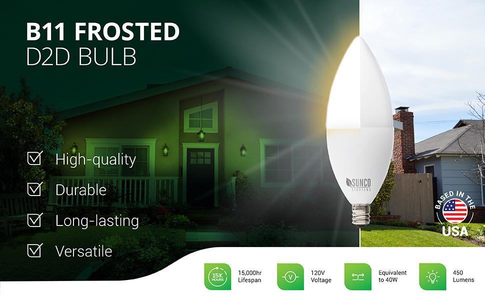 B11 LED Candelabra Bulb 4W=40W, Dimmable, Waterproof, Chandelier/Pendant Light Fixture
