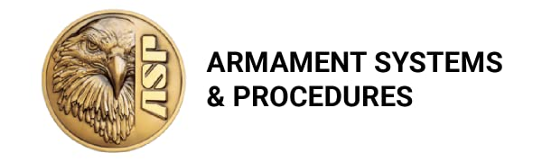 """White background with ASP logo. Text reads: """"Armament Systems amp; Procedures."""""""