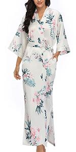 Womens Long Satin Kimono Robes