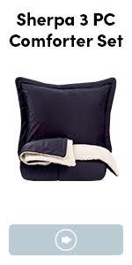 3 piece sherpa comforter set