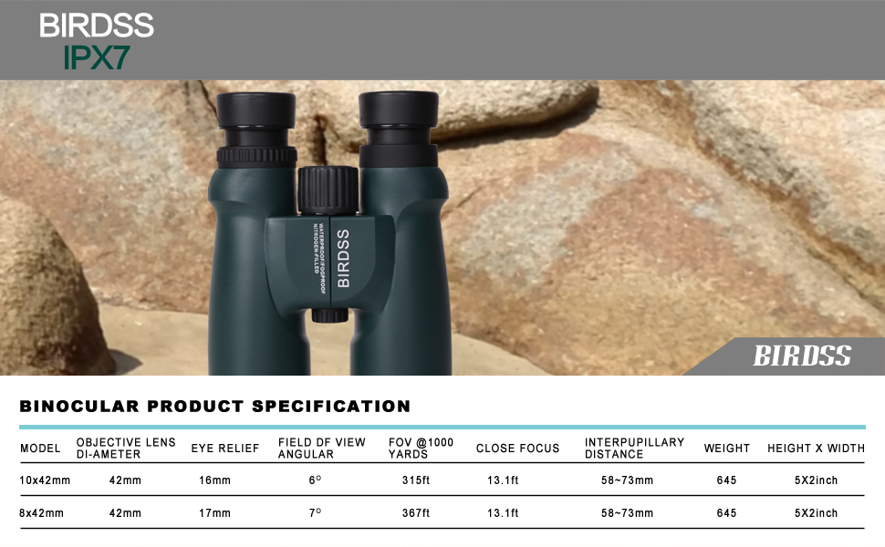 BIRDSS 10x42 HD Roof Prism Binoculars for Adults and Kids