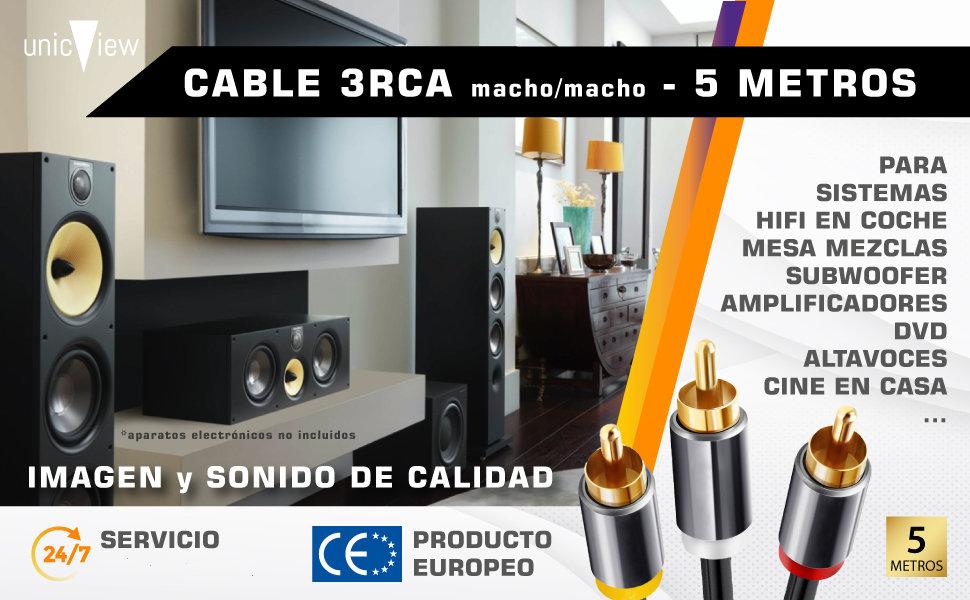 cable rca 5 metros, cable rca bañado en oro, cable rca para amplificador
