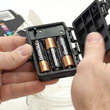 Install 3 AA batteries