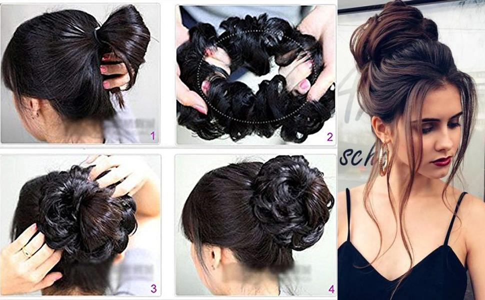 curly bun hair piece bun extension hair bun extension updo hair accessories updos hair bun hair
