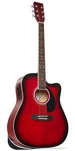 Red Dreadnought Cutaway Acoustic-Electric Guitar