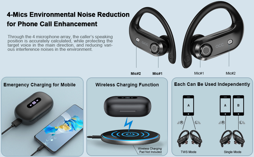 Bluetooth Headphones 4-Mics Call Noise Reduction 64Hrs Occiam Wireless Earbuds