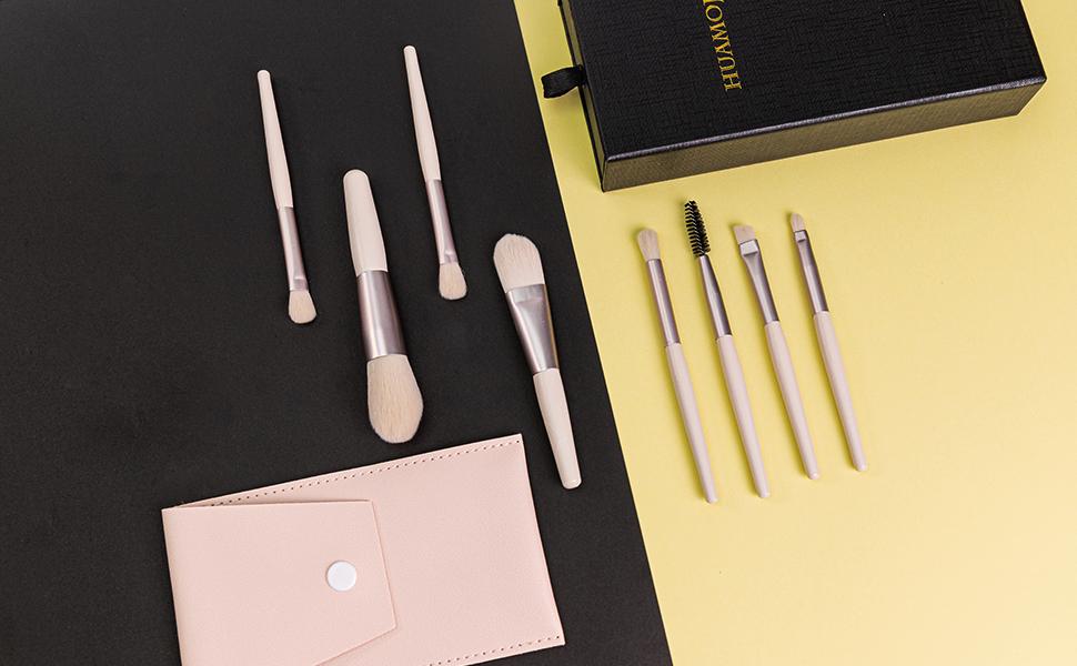 8pcs Mini Cosmetic Brush Set Apricot