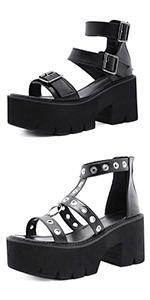 chunky heel sandals platform sandals black sandals open toe ankle buckle strap