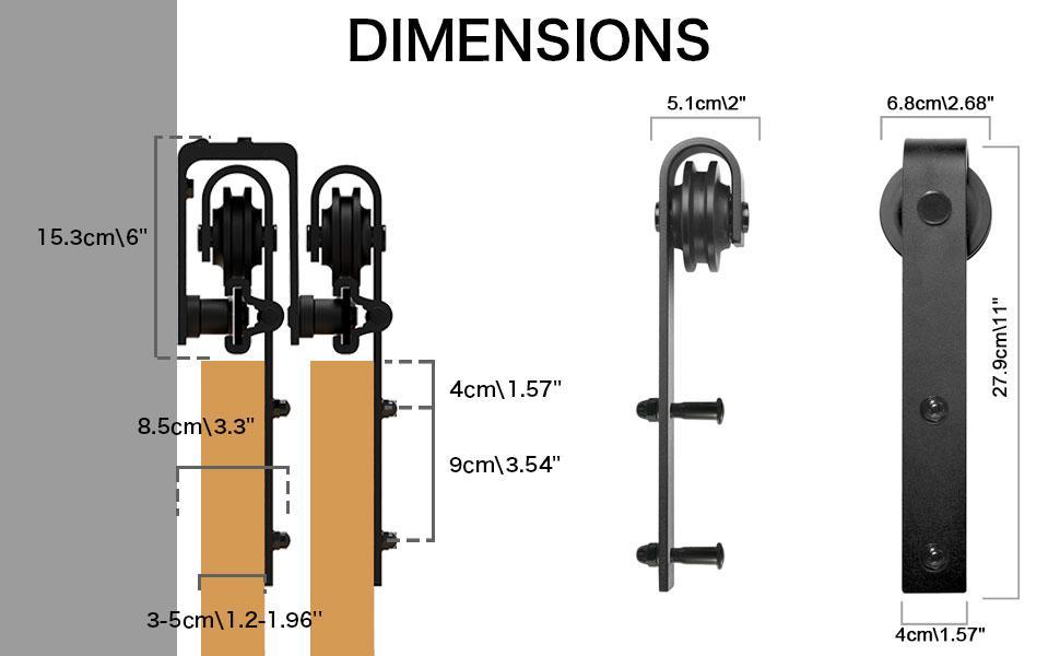 carbon steel barn door hangers hardware kit