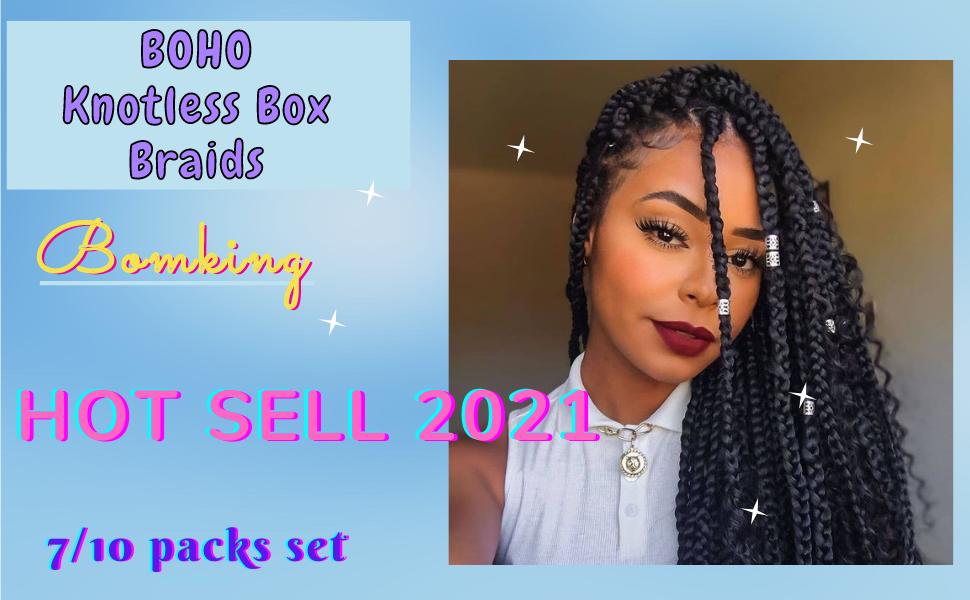 24 Inch BoHo Knotless Box Braids Crochet Hair
