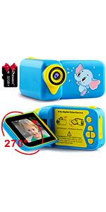 270° rotatable screen kids video camera