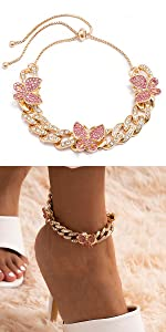 Adjustable Small Pink Butterfly Cuban Anklet