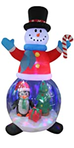 8 Foot Tall Christmas Inflatable Snowman Globe with Penguin and Gift Box Christmas Tree